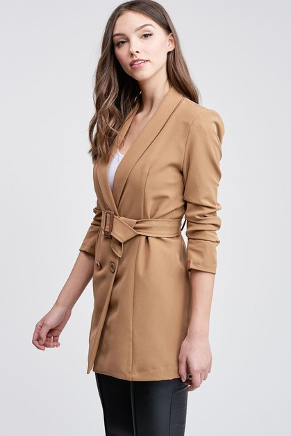 4-BUTTON DRESS BLAZER WITH BELT - orangeshine.com
