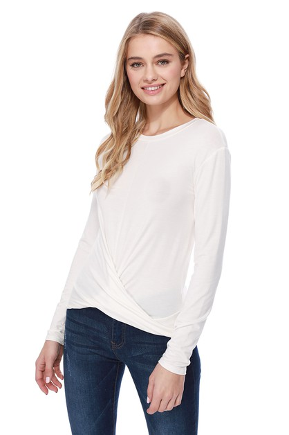 Long Sleeve Knot Front Detail Crop  - orangeshine.com