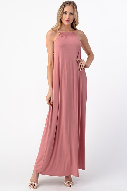 HIGH NECK SMOCKING DETAIL MAXI DRESS - orangeshine.com