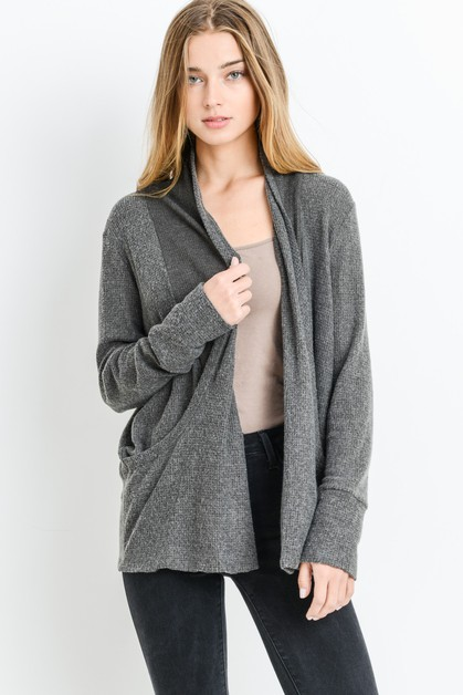 Draped Shawl Collar Cardigan - orangeshine.com