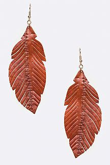 Cutout Leather Drop Earrings - orangeshine.com