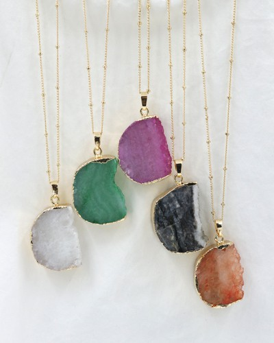 Semi Circled Natural Stone Necklace - orangeshine.com
