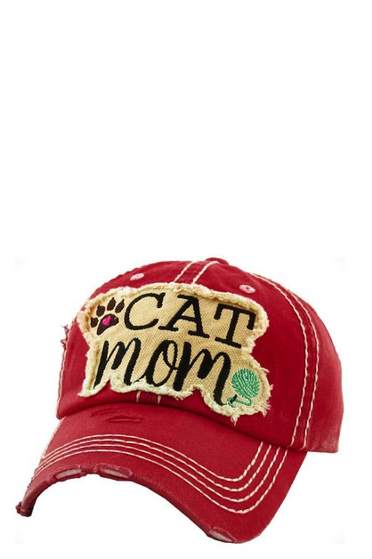 CAT MOM Washed Vintage Ball Cap - orangeshine.com