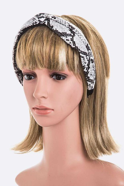 Snake Embossed Twist Top Headband - orangeshine.com