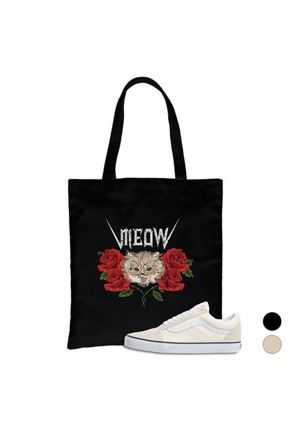 Meow Cat Roses Canvas Bag - orangeshine.com