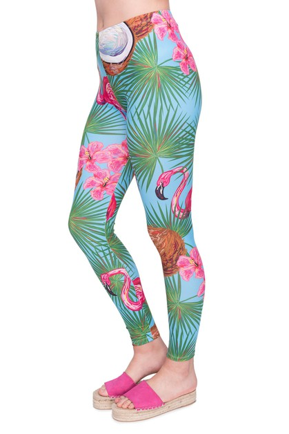 coco flamingo Printed Leggings - orangeshine.com