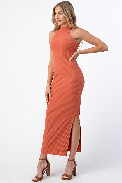 RIB MOCK NECK MAXI DRESS - orangeshine.com