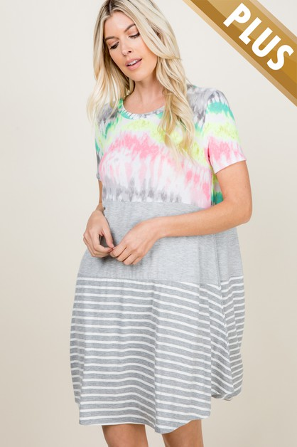 PLUS SIZE TIE DYE AND STRIPE DRESS - orangeshine.com