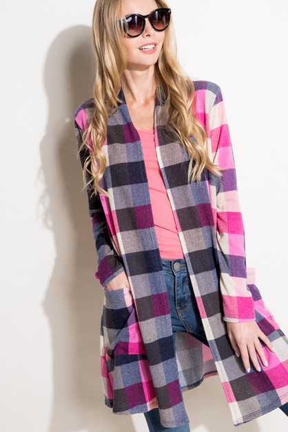 MULTI PLAID FRONT SIDE PK CARDIGAN - orangeshine.com
