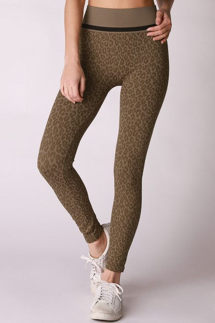 Black Striped Leopard Leggings - orangeshine.com