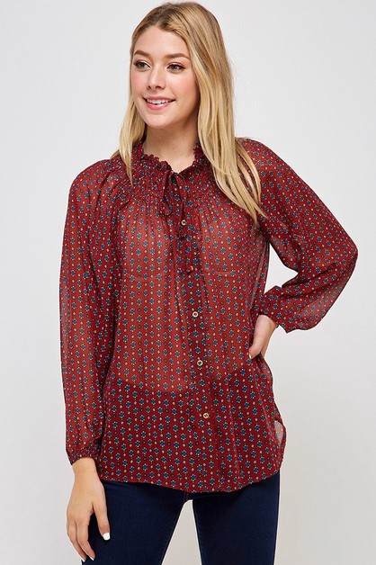 Print Smocked Button Down Top - orangeshine.com