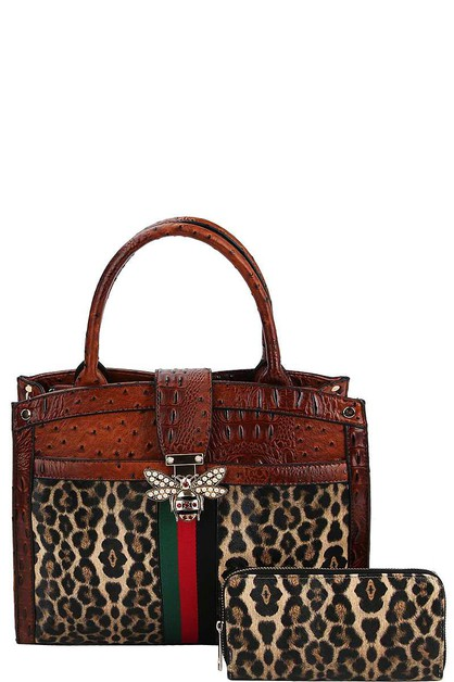 LEOPARD AND BEE ACCENT SATCHEL  - orangeshine.com