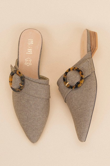 Buckle Pointed Mule Ships Between - orangeshine.com