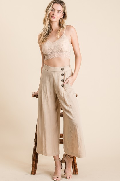 BUTTON TRIM LINEN WIDE PANTS - orangeshine.com
