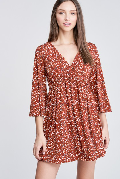 Bell Sleeve Floral Print Knit Dress - orangeshine.com