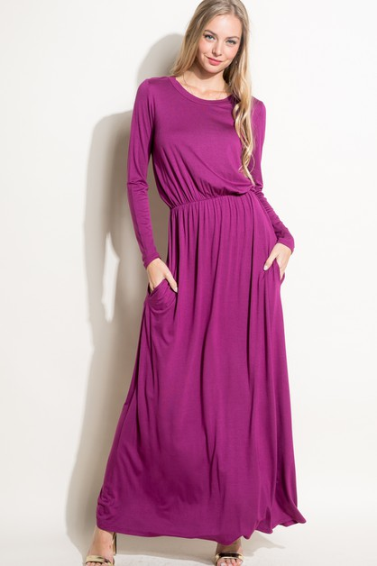 SOLID SIDE POCKET EMPIRE MAXI DRESS - orangeshine.com