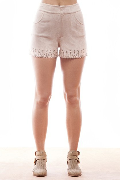 SUEDE LASER CUT SHORTS - orangeshine.com