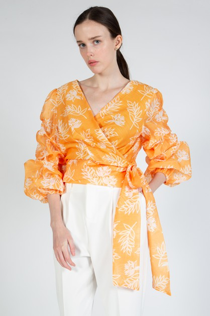 Wrapped Top With Ballon Sleeve - orangeshine.com