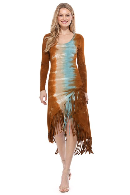 TIE DYE FRINGED HIGH LOW DRESS - orangeshine.com