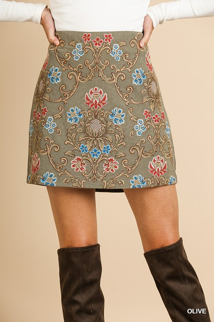 Embroidered High Waist A-Line Skirt - orangeshine.com