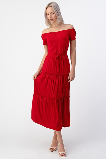TIERS OFF SHOULDER MAXI DRESS - orangeshine.com