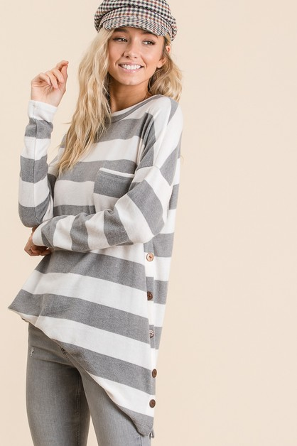 Striped Long Sleeve Button Top - orangeshine.com