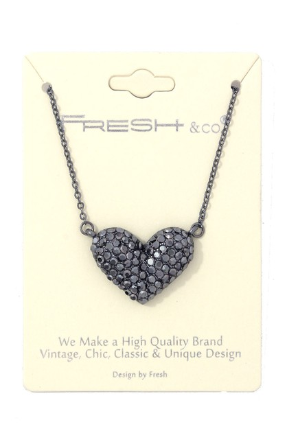 RHINESTONE WIDE HEART SHAPE NECKLACE - orangeshine.com