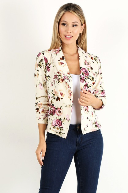 Floral print fitted open blazer - orangeshine.com