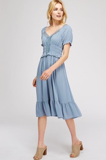 Short Sleeve Solid Knee Length Dress - orangeshine.com