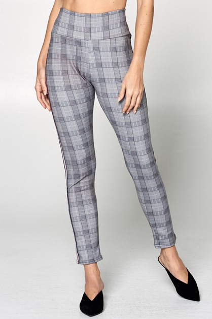 CHECKER SKINNY PANTS - orangeshine.com