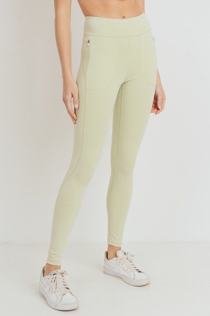 Side Zippered Pocket Highwaist Leggings - orangeshine.com