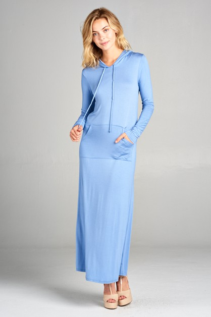 LONG SLEEVE LAGUNA HOODIE MAXI DRESS - orangeshine.com