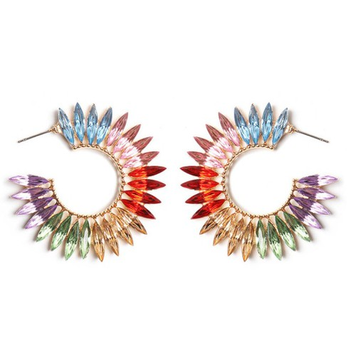 Colorful Crystal Stud Earring - orangeshine.com