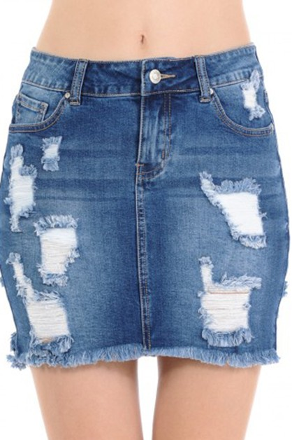 Denim skirt with frayed hem  - orangeshine.com