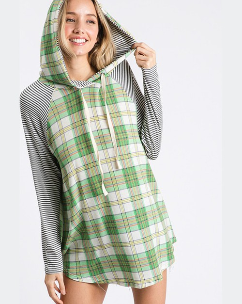 Plaid and Stripes Top with Hoodie - orangeshine.com