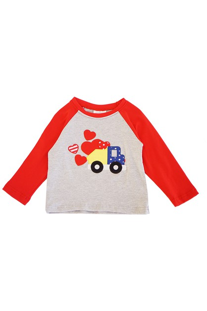 Love truck applique red boy raglan - orangeshine.com