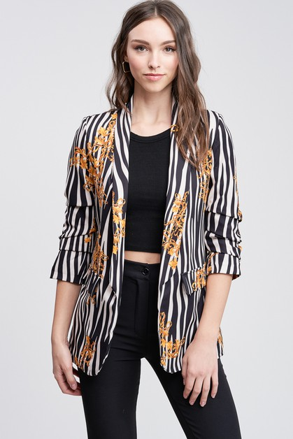 PRINTED RUCHED SLEEVE BLAZER - orangeshine.com