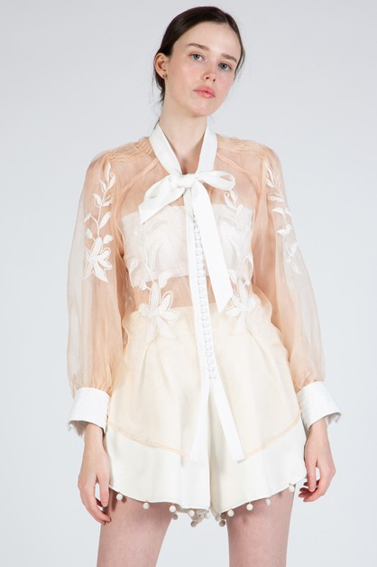 Organza Top with Floral Embroidery - orangeshine.com