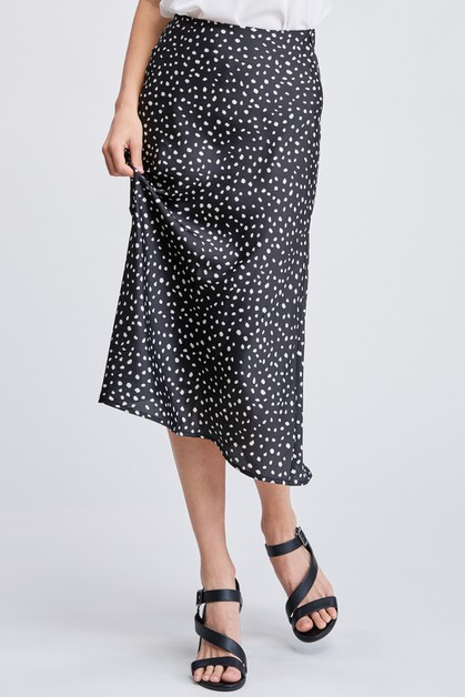 Black and White Polka Dot Midi  Skir - orangeshine.com