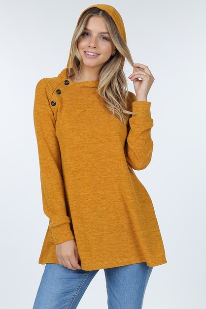 Hacci Long Sleeve Hooded Sweater Tun - orangeshine.com