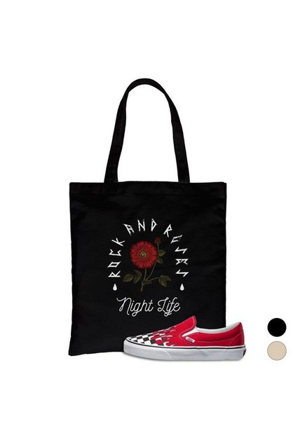 Rock And Roses Night Life Canvas Bag - orangeshine.com