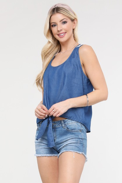 Denim Sleeveless Scoop Neck Crop Top - orangeshine.com