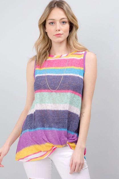 MULTI STRIPED KNIT SLEEVELESS TOP - orangeshine.com