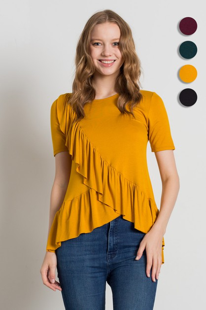 SHORT SLEEVE OVERLAPPING RUFFLE TOP - orangeshine.com