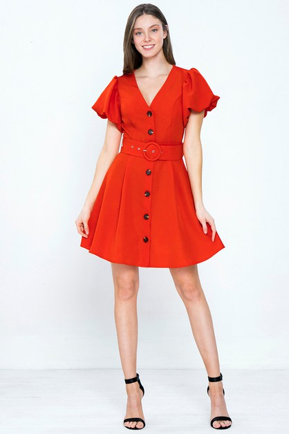 BUTTON-DOWN WOVEN MINI DRESS - orangeshine.com