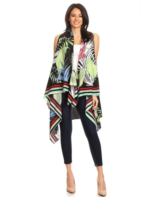 Tropical print vest - orangeshine.com
