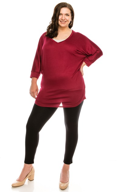 V-Neck Mid Sleeve Dolman Top PLUS - orangeshine.com