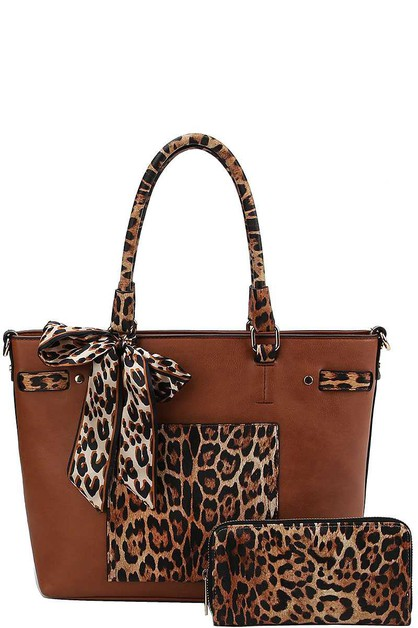 LEOPARD TWO TONE SCARF TOTE BAG - orangeshine.com