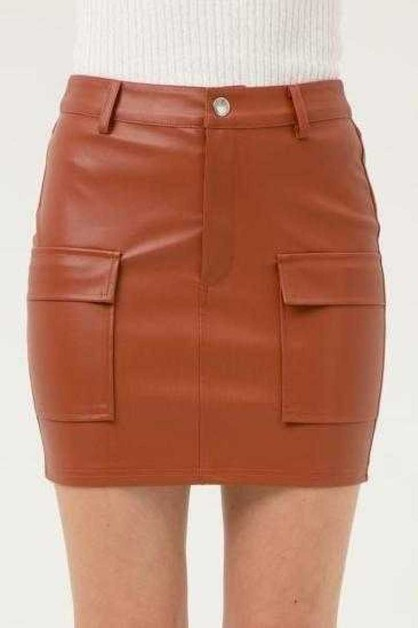FAUX LEATHER MINI SKIRT - orangeshine.com