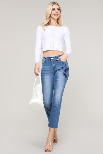 Mid Rise Embroidered Jeans - orangeshine.com